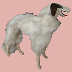 Medium Size Borzoi Russian Wolfhound Parlor Dog for French Fashion, Glass Eyes, Two Fang-like Teeth