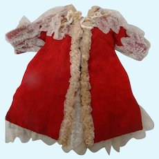 Antique Bebe Red Christmas Dress with Ecru French Lace Trim