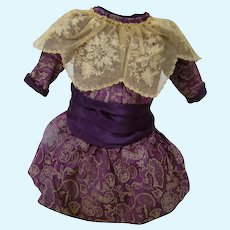 Luscious Purple and Ecru Doll Dress for Antique French Bebe or German Doll