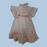 Beautiful Factory Original Antique Doll Dress, Sheer Muslin and Lace