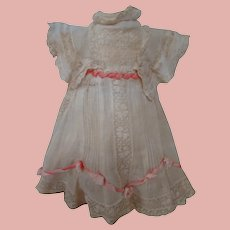 Beautiful Factory Original Antique Doll Dress, Sheer Muslin and Lace