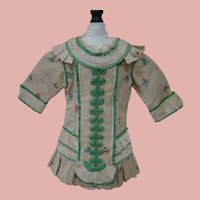 Special Very Old Silk Textured with Floral Print Bebe Dress for Antique Doll