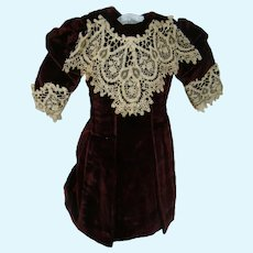Old Doll Dress for Bebe or German Bisque, Deep Red and Black Striped Fabric