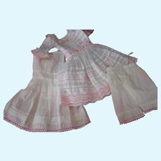 Vintage White and Pink German Style Dress, Pantaloons and Full Slip for 14-15 Inch Doll