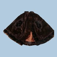 Rich Brown Cotton Velvet and Fur Doll Cape for Larger French Fashion