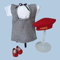 Black and White Herringbone Doll Ensemble, Jumper, Blouse, Hat and Shoes