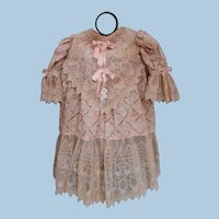 Beautiful Old Cotton and French Lace Bebe Dress, Ecru with Pink Silk Ribbons