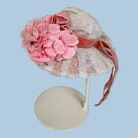 Beautiful Old Straw Covered Wide Brim Hat for Bebe, Silk Lined, Flowers