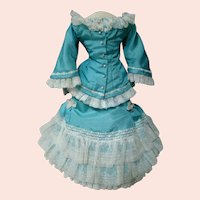 Two Piece Silk Taffeta, Flocked Tulle, French Lace Small French Fashion Ensemble with Train, Slip