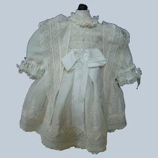 Special Doll Dress of Soft White Cloud-Like Puffs of Embroidered and Lace Trimmed Cotton for Bebe or German Doll