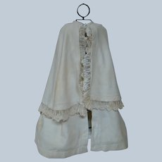 Antique Waffle Pique Cape with 1-1/2 In. French Embroidered Lace Trim, Lined in Fleece