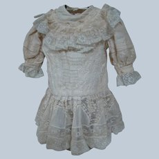Extraordinary Linen and Lace Very Old Vintage Doll Dress, Drop Waist, Lace Ruffled Bertha Collar, Long Sleeves