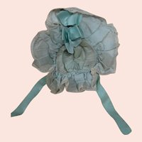 Original Textured Blue Silk Bebe Bonnet, Wired Frame, Lining, Silk Ribbons, Lace
