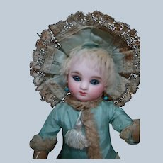"""Rare Sz 10-1/2 In. """" 3/0 """" Bourgoin Sie C Round Face Steiner, Marked Head and Body, Antique Clothes Plus Extras"""