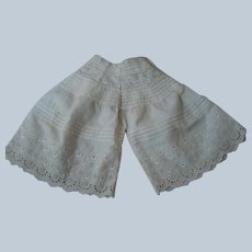Original Hand-Made Ornate Pantaloons, Deep Embroidered Trim, Scallops and Rows of Tucks for Bebe