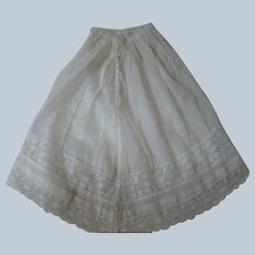 Lovely Antique Cotton Lace-Trimmed Half Slip with Train for French Fashion Doll