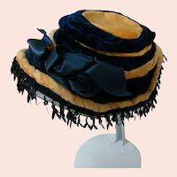Antique Original Doll Hat with Gold Writing on Label of Paris Boutique or Millinery Shop