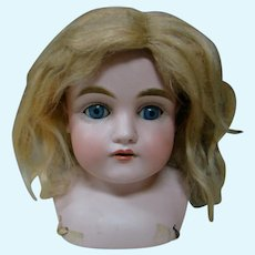 German J. D. Kestner Doll Shoulder Head (Only), Mold #154, 10 In. Cir., Blue Glass Sleep Eyes