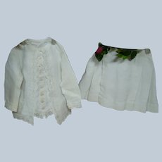 Fabulous Factory Original Antique Two Piece Cotton Corded Suit with Broderie Anglaise Trim for 30-33 In. Doll