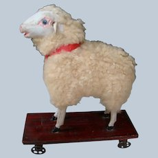 Wooly Sheep on Platform with Metal Wheels, Glass Eyes, Great Doll Accessory