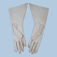 Lovely Larger Doll Size Soft Kid Skin Gloves, Unused