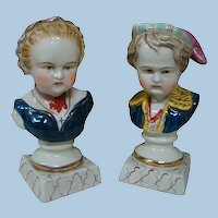 8 In. Pair of Ornate China Glazed Busts of Young Lady and Gent, Probably French or German