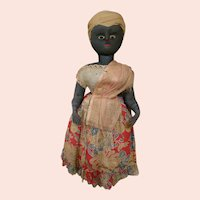 21 In. Original South American Black Hard Stuffed Cloth Bahia Doll from Brazil