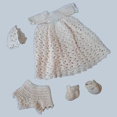 Vintage Hand Crocheted Ecru Doll Gown, Panties, Bonnet and Booties
