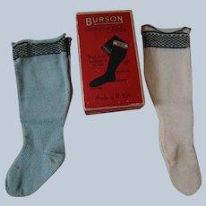 "Two Pair of Antique Burson Cotton Knit "" Doll Hose "" Socks / Stockings in Original Box"