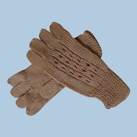 Accessory Gloves for Antique Dolls, Tan Pair of Woven Small Gloves, Silk and Cotton Blend