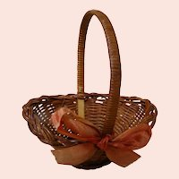 Cute Old Long Handled Woven Straw Basket for Doll Accessory