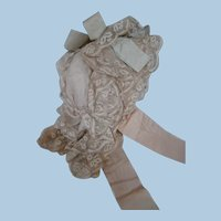 Beautiful Lined and Padded Antique Bavolet Style Doll Bonnet for your Favorite Bebe