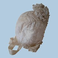 Antique Silk Bonnet for Dolls, Embroidered Designs, Tiny Silk Rope, Ruffles of Lace, Ribbon Pom-Pom
