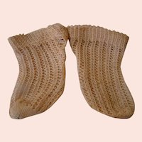 Antique Loosely Woven Authentic Cotton Doll Socks, Tighter Weave at Top