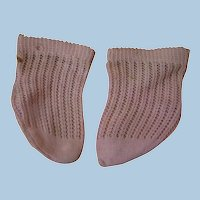 Antique Loosely Woven Authentic Pink Cotton Doll Socks, Tighter Weave at Top