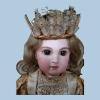 Lovely Vintage Wired Doll Crown with Wax Flowers, Lace Insets, Rhinestones and Tiny Faux Pearls
