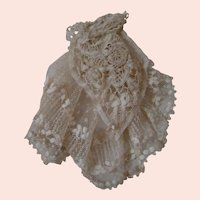 Doll Size Jabot Attached to Neck Piece, Antique Laces, Embroidered Tulle