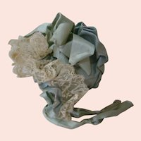Old Doll Bonnet of Blue Textured Silk with Lace, Silk Ribbon, Puffy and Sweet