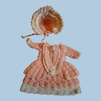 Coral with Ecru Trim Dress and Bonnet for 6-6-1/2 In. All Bisque Doll