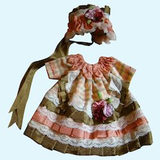 Vintage Taffeta Plaid Dress and Bonnet for All Bisque or Small Doll