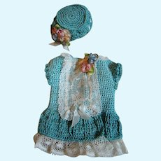 Cute Vintage Spring Frock and Hat for All Bisque or Small Doll 5-1/2-6 In.