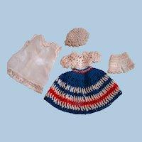 Crochet Patriotic Dress, Hat, Pantaloons, Slip (Silk) for Small Doll