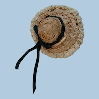 Small Antique Straw Hat with Silk Faile Edges and Black Velveteen Ribbon Bow