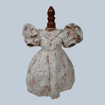 Antique Awesome Lined Bebe Dress of Beautiful Floral Printed Silk, Lantern Sleeves, Gathered and Box Pleated Skirt