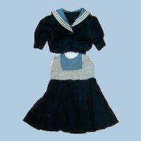 Two Piece Wool and Cotton Nautical Style Dress and Jacket, 21-22 In. French Bebe or German Doll