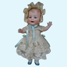 Perfect 7 In. All Bisque Bonnie Babe, Easter Outfit and Bonnet in 10 In. German Easter Egg