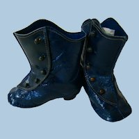 Antique German Blue Leather Boots, Topstitching, Brass Buttons, Short Heels, Excellent Condition