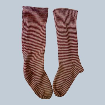 Pair of Antique Cotton Knit Burgundy Stripped Stockings