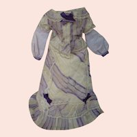 Two-Piece Antique Silk Voile French Fashion Ensemble with Pleats, Ruched Panels, Lace and Silk Ribbon Bows