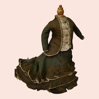 Magnificent Antique Two-Piece Ensemble for French Poupee, Extra Long Train with Pleats, Ruffles and Silk Bound Edges